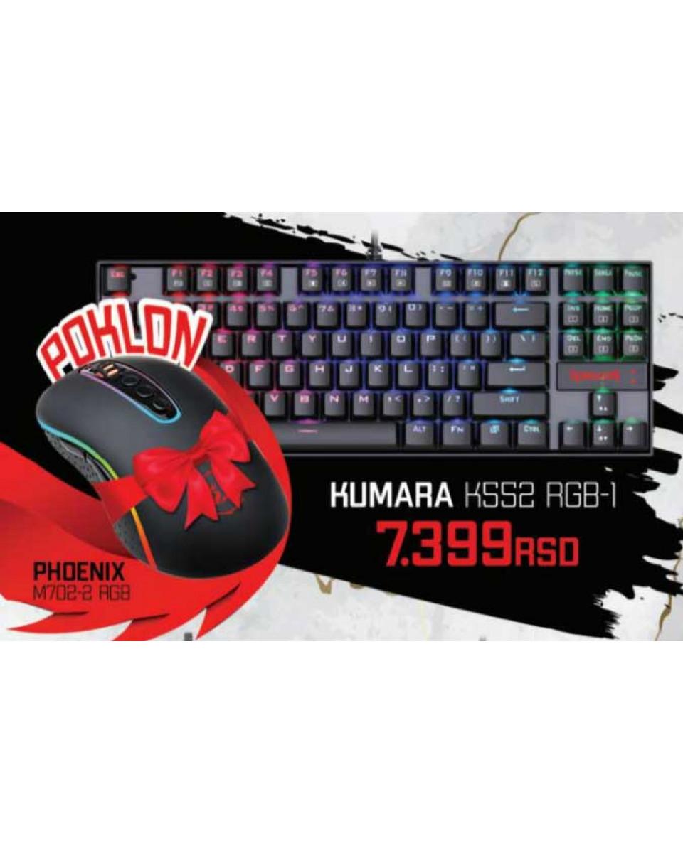 Tastatura Redragon Kumara K552 RGB + Miš Redragon M702-2 RGB