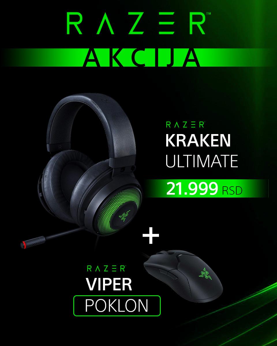 Slušalice Razer Kraken Ultimate + POKLON Miš Razer Viper