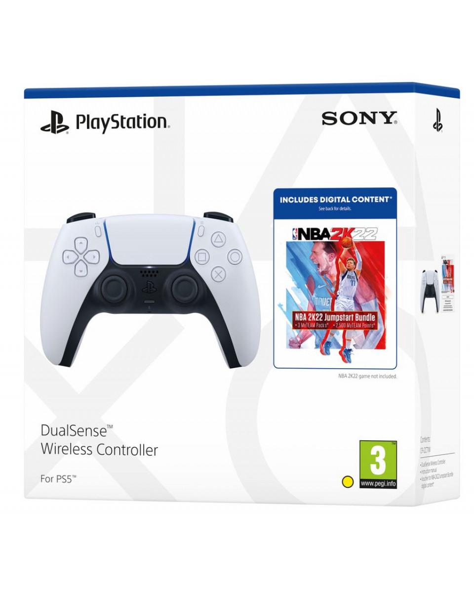 Gamepad PlayStation 5 DualSense - White + NBA 2K22 Jumpstart paket