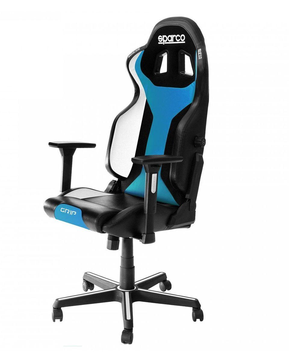 Gaming Stolica Sparco GRIP Black / Light Blue Sky