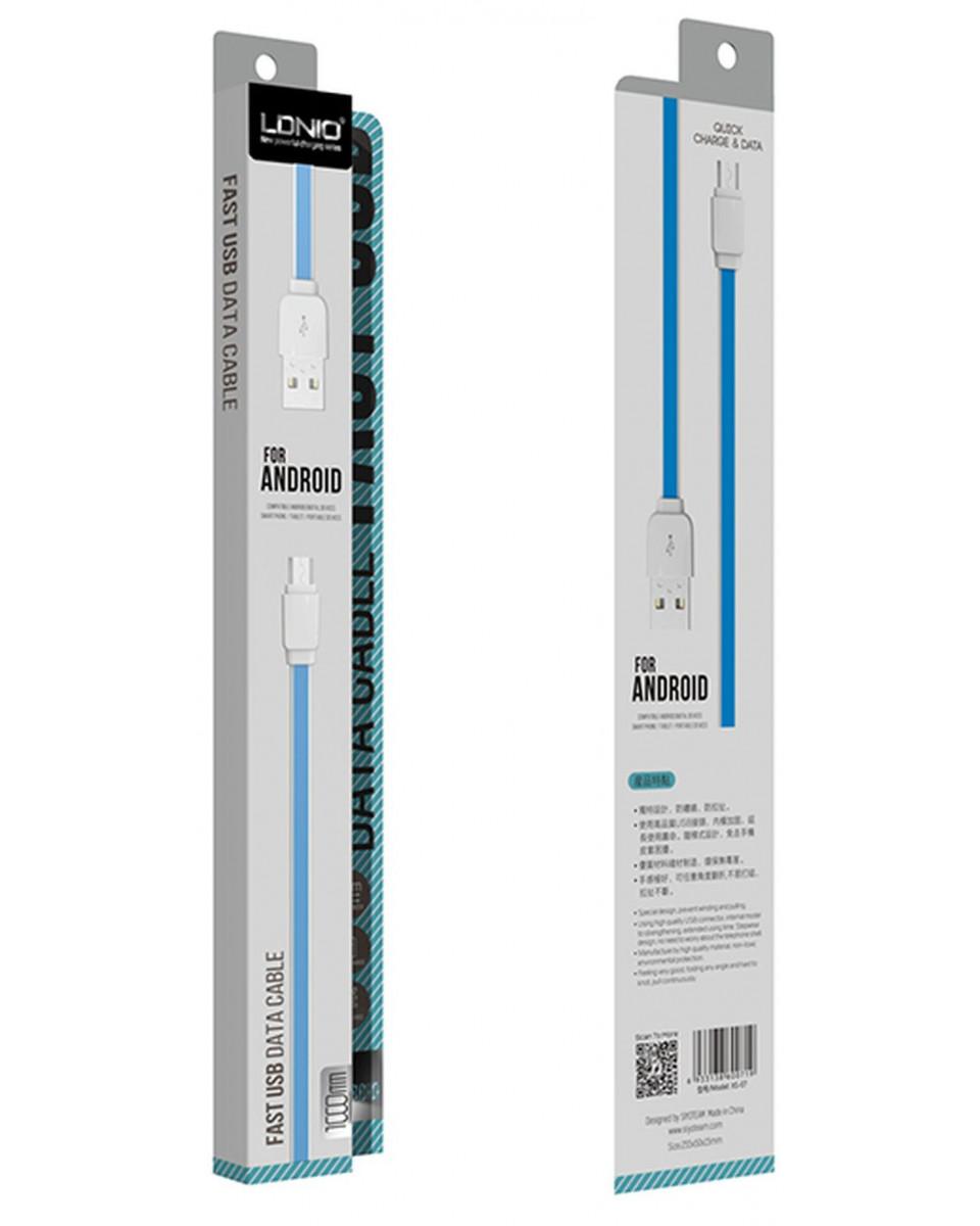 Kabl LDNIO Micro USB - 1m - White, Flat