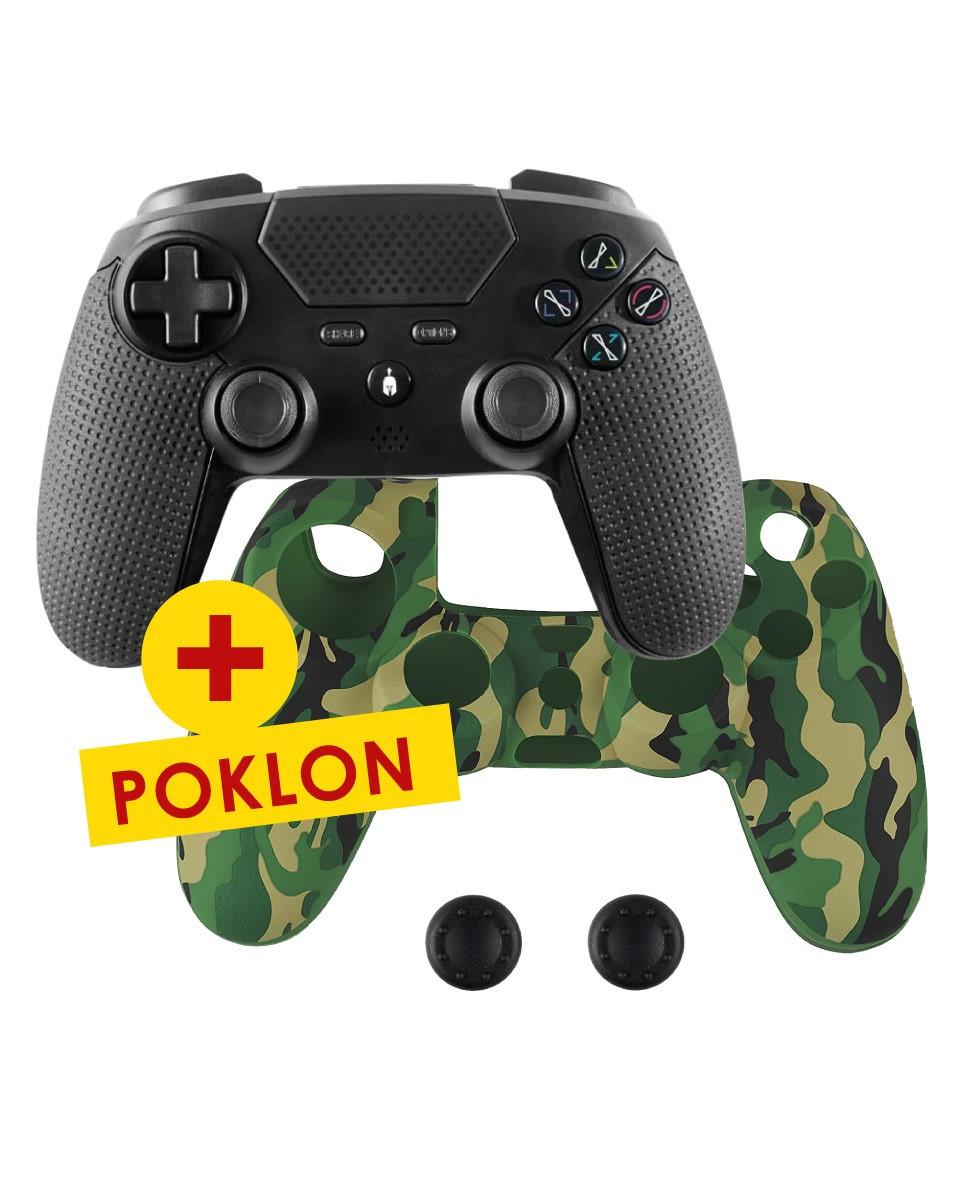 Gamepad Spartan Gear - Aspis 2 + Controller Silicon Skin Cover & Thumb Grips Camo Green