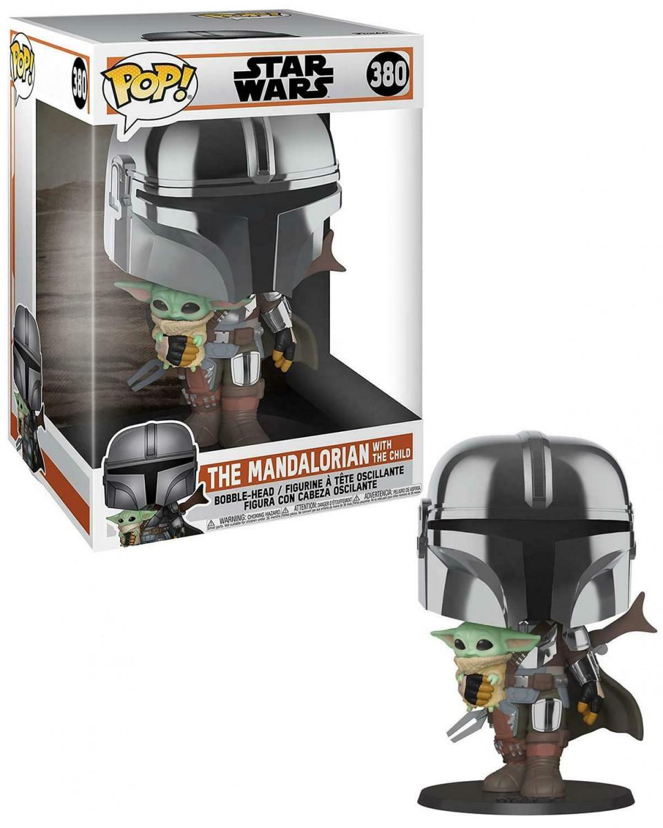 Bobble Figure Star Wars The Mandalorian Super Sized POP! - The Mandalorian holding The Child