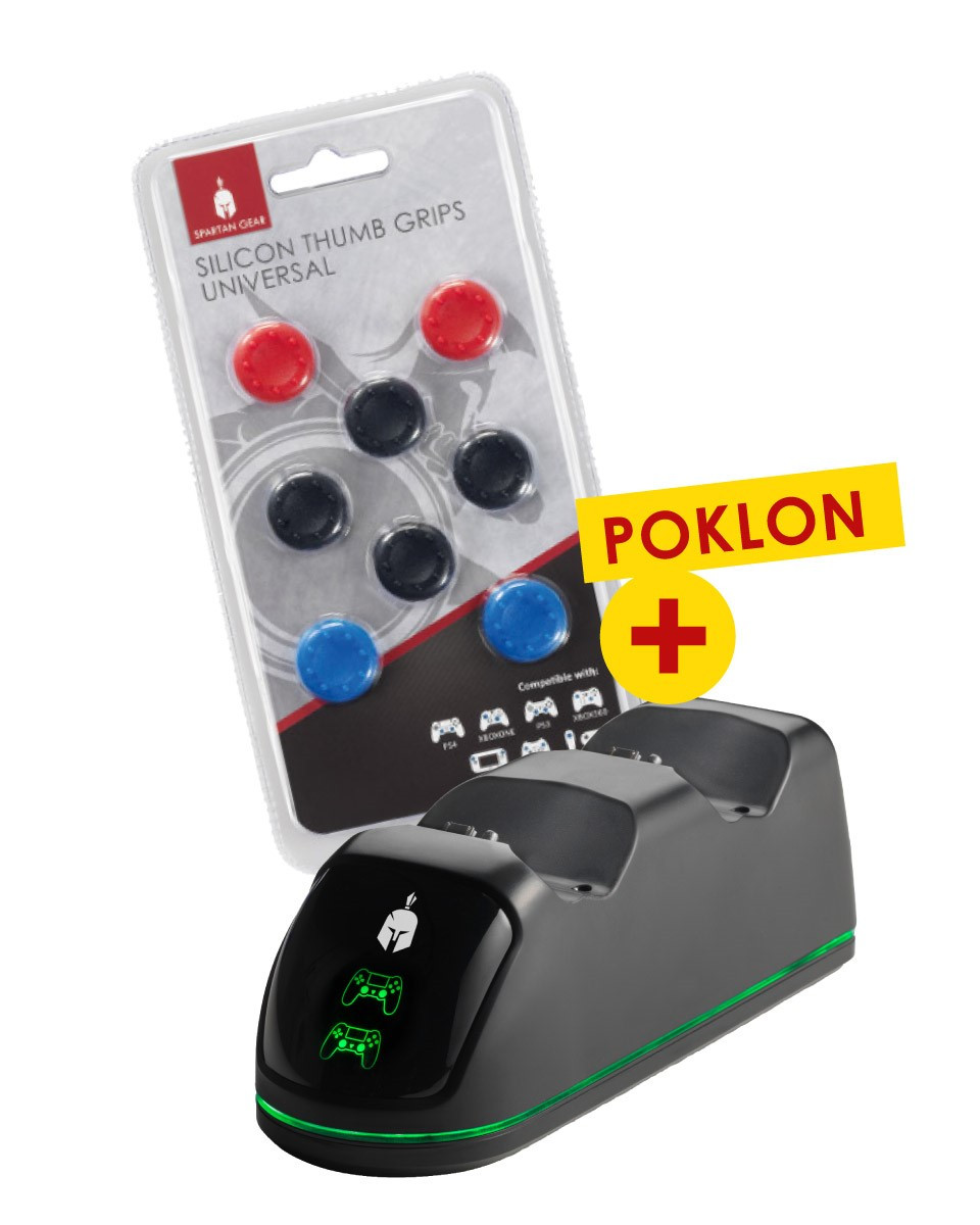 Dual Charging Dock Station v2 Spartan Gear + Silicon Thumb Grips Universal