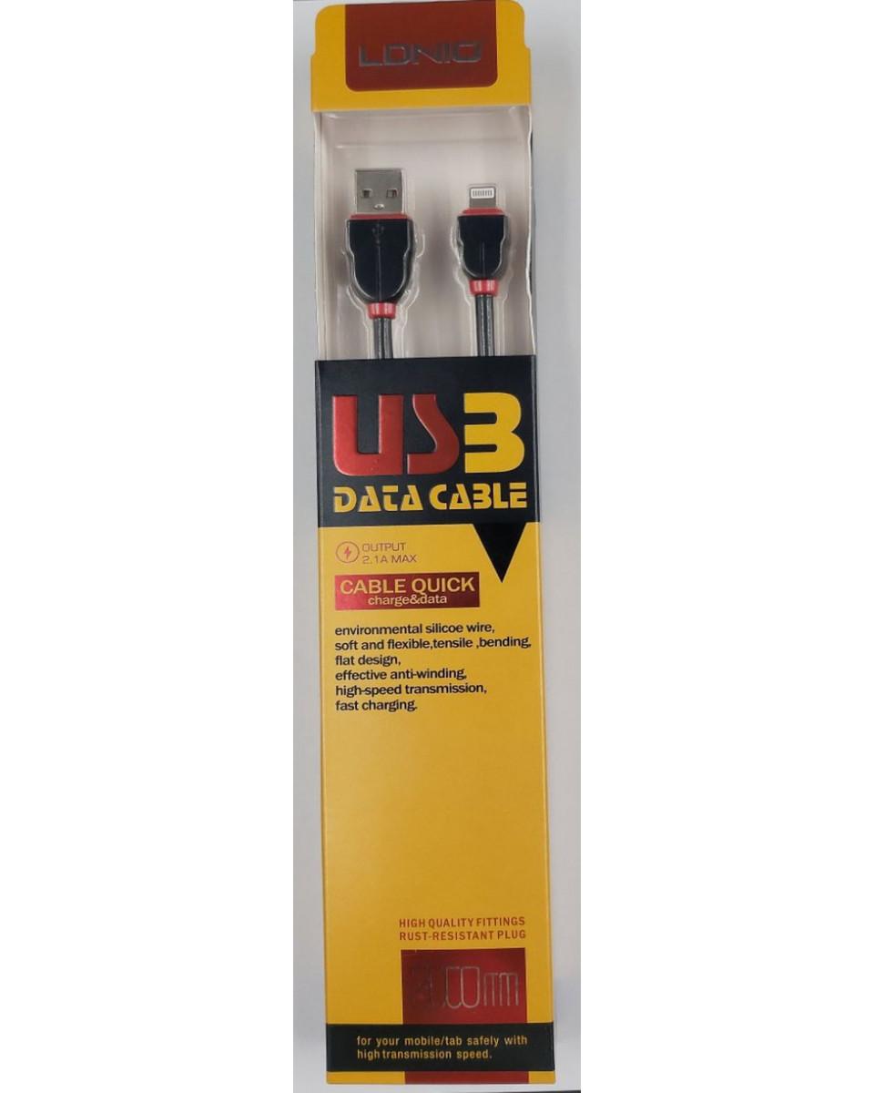 Kabl LDNIO Lightning Apple USB - 2m, Black Flat