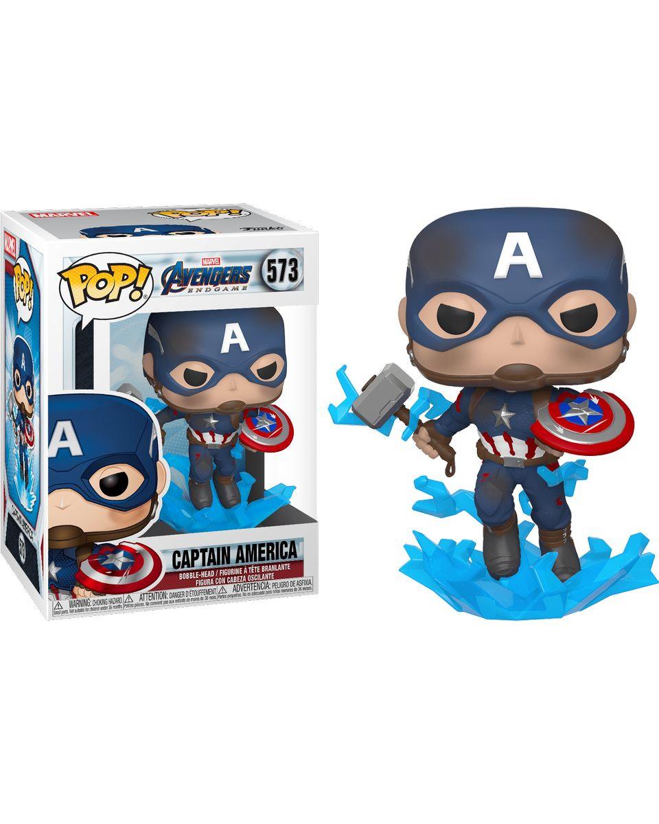 Bobble Figure Marvel Avengers Endgame POP! - Captain America with Broken Shield & Mjolnir