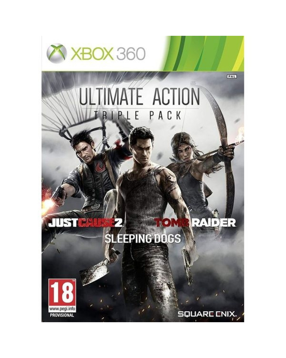 XB360 Ultimate Action Triple Pack (Just Cause 2, Sleeping Dogs, Tomb Raider)